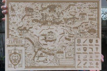 Laser-Etched Hyrule Map