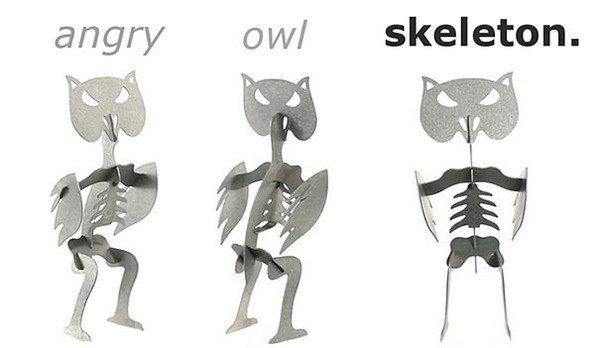 angry owl skeleton