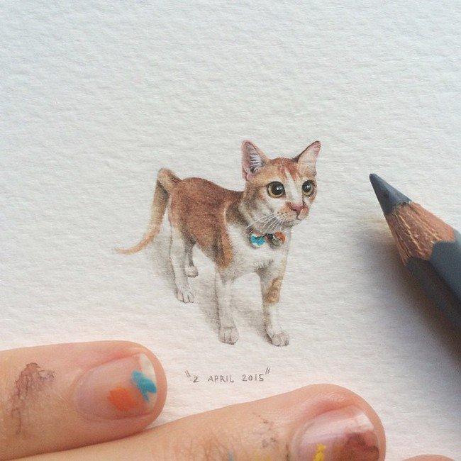 april cat tiny painting lorraine loos