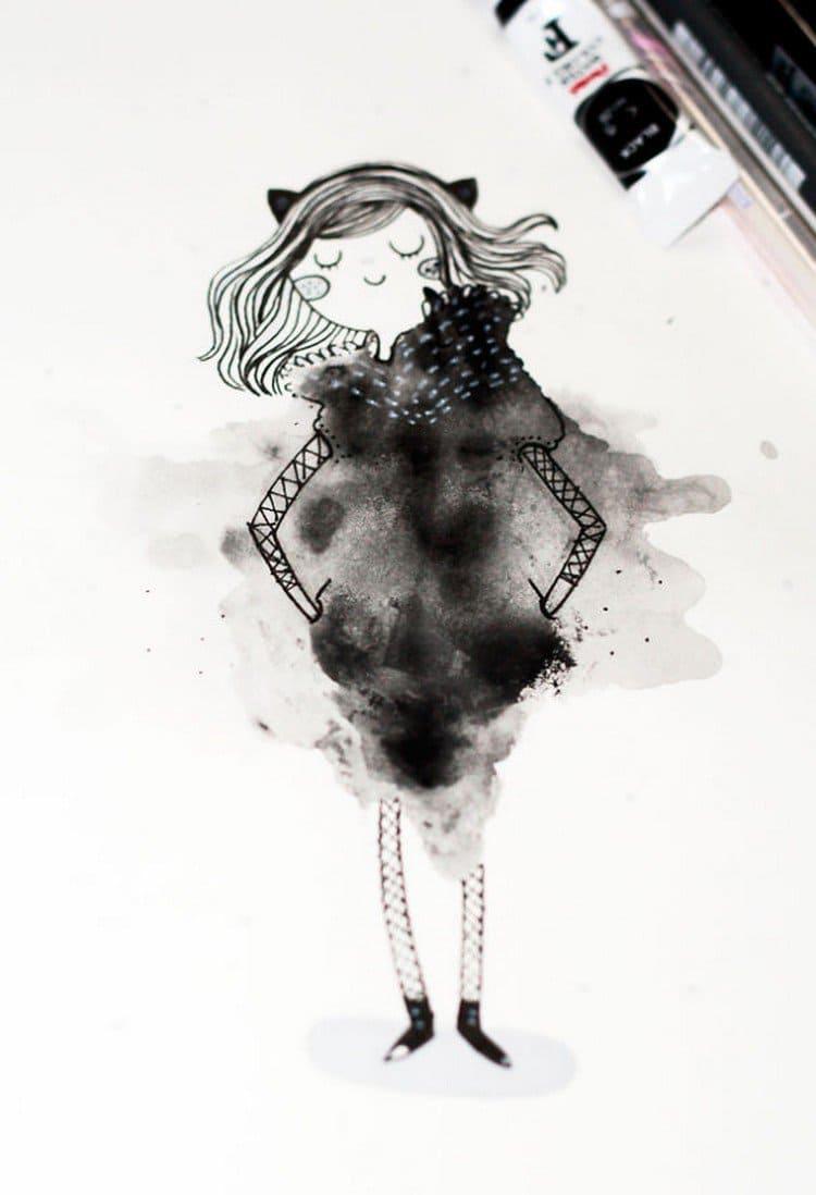 black blot girl