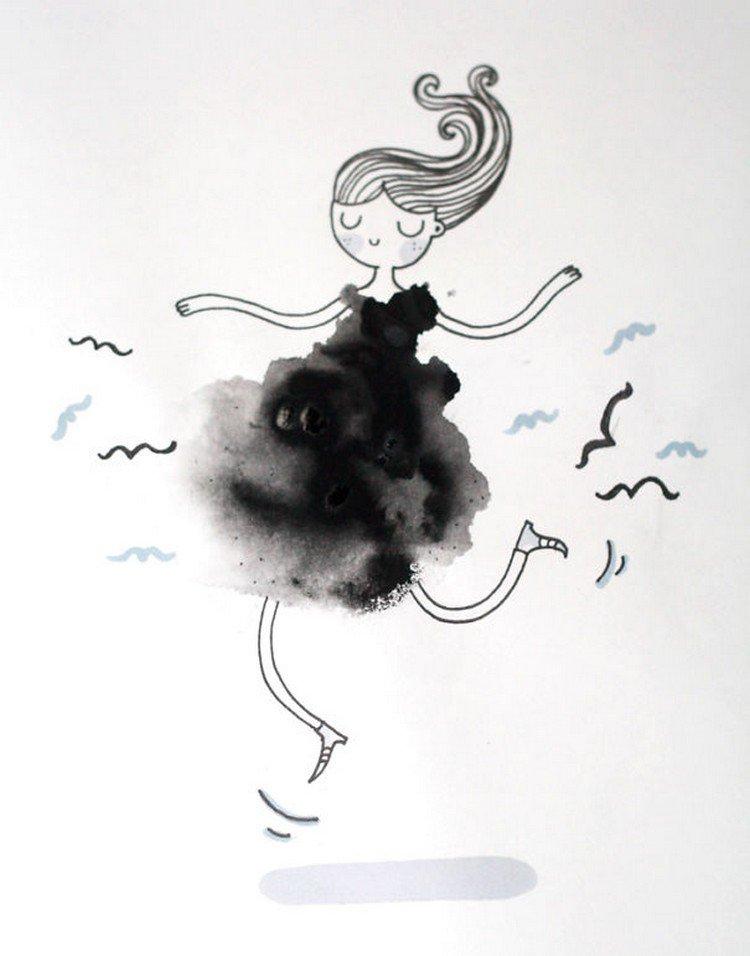black dress blot girl