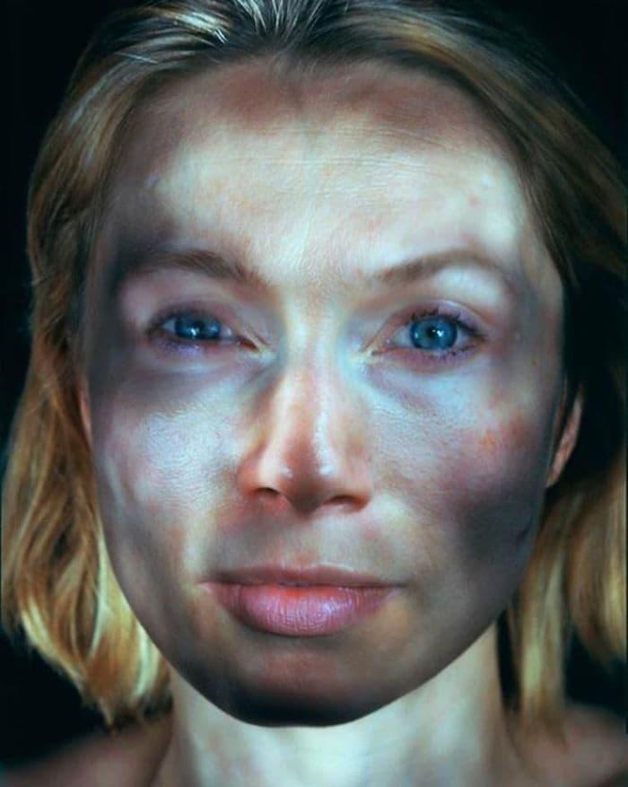 blond woman illuminated
