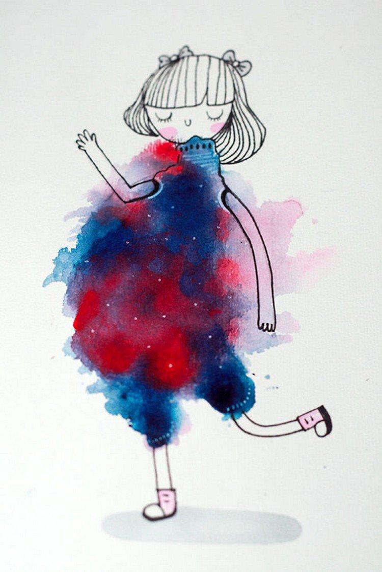 blot girl red blue