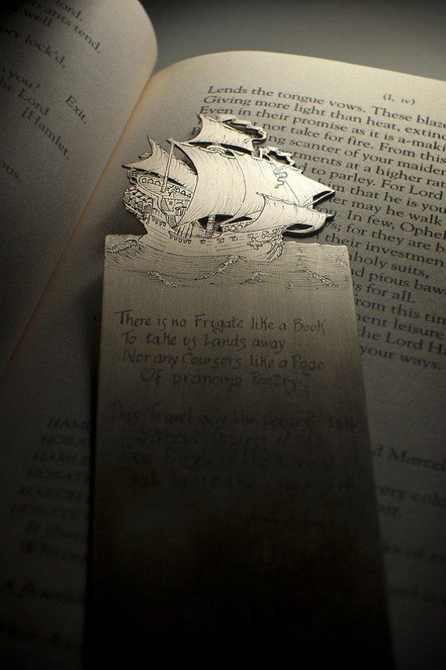 boat silver bookmark