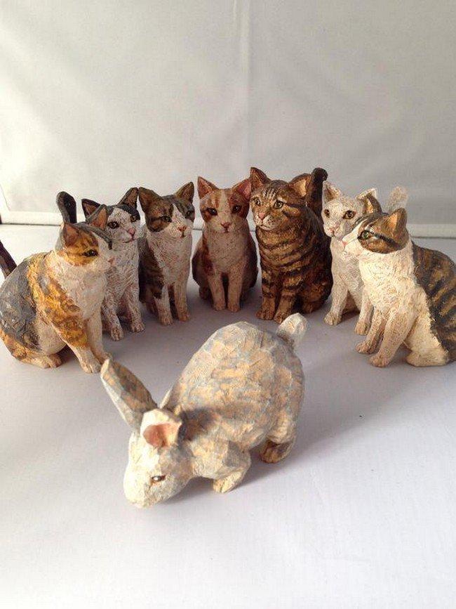cat sculptures rabbit