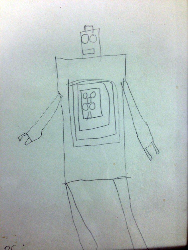 child robot drawing