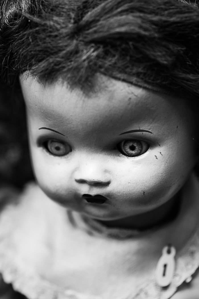 close up staring doll