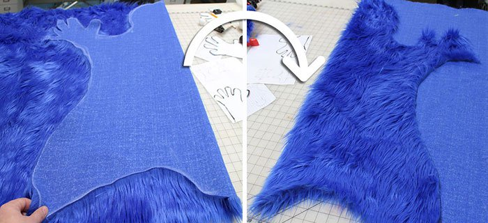 cookie monster rug being made