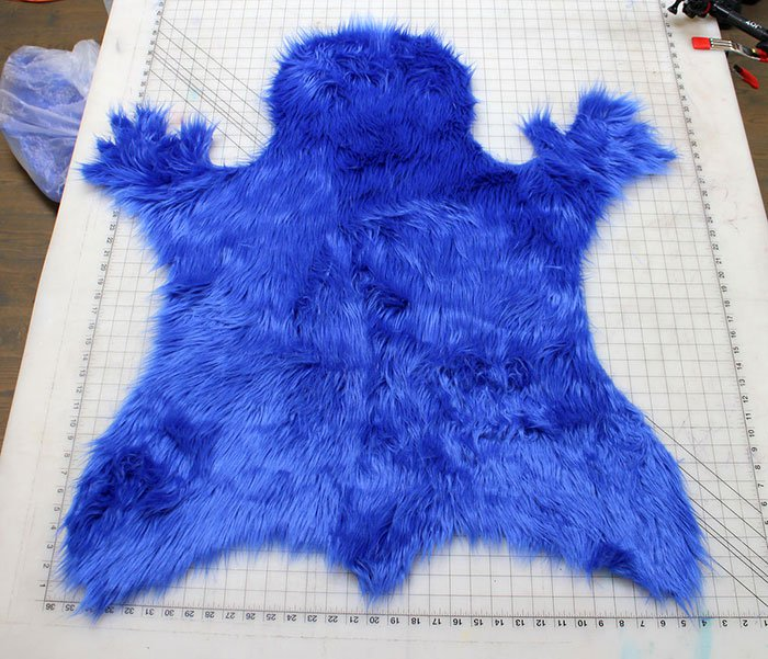 cookie monster rug cut out section