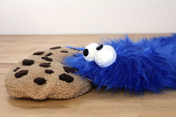 cookie monster rug pillows