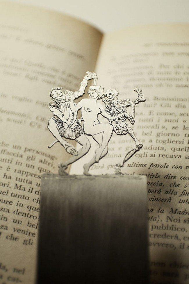 dancing woman devil skeleton silver bookmarkdancing woman devil skeleton silver bookmark