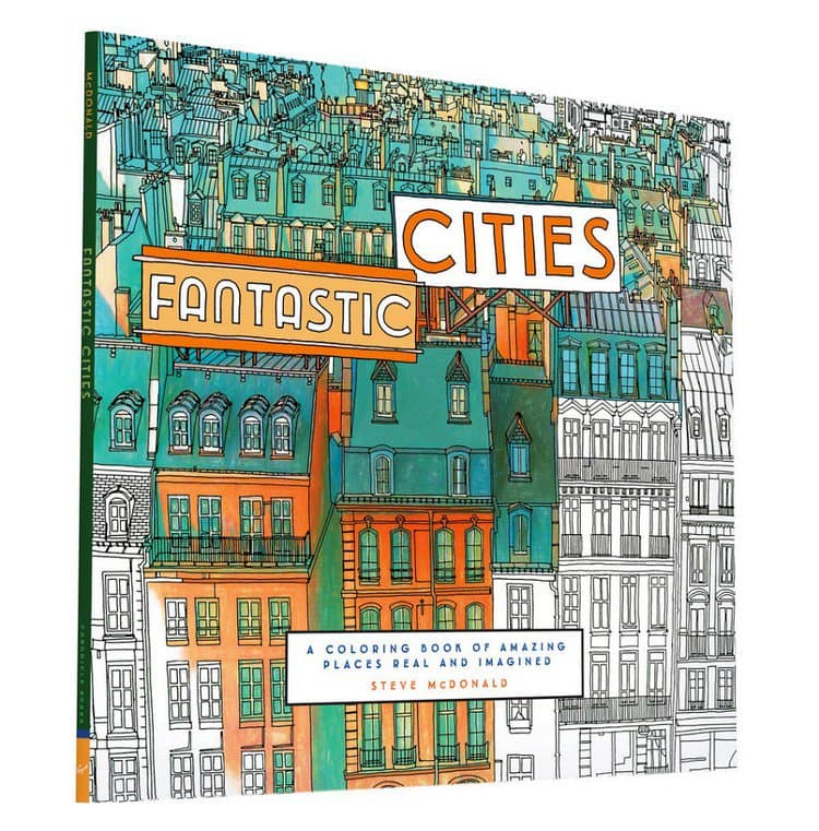 fantastic cities coloring book cover