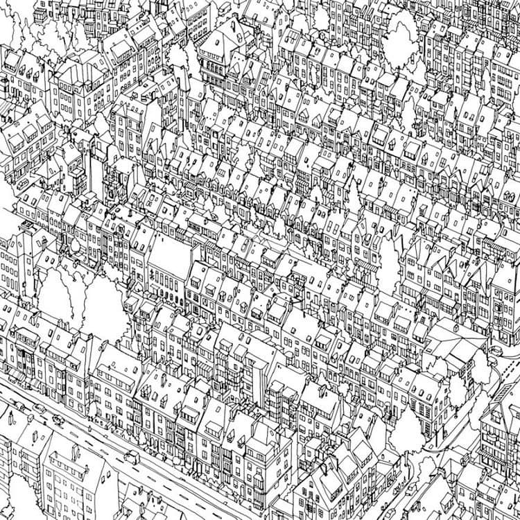 Fantastic Cities Coloring Book Europe