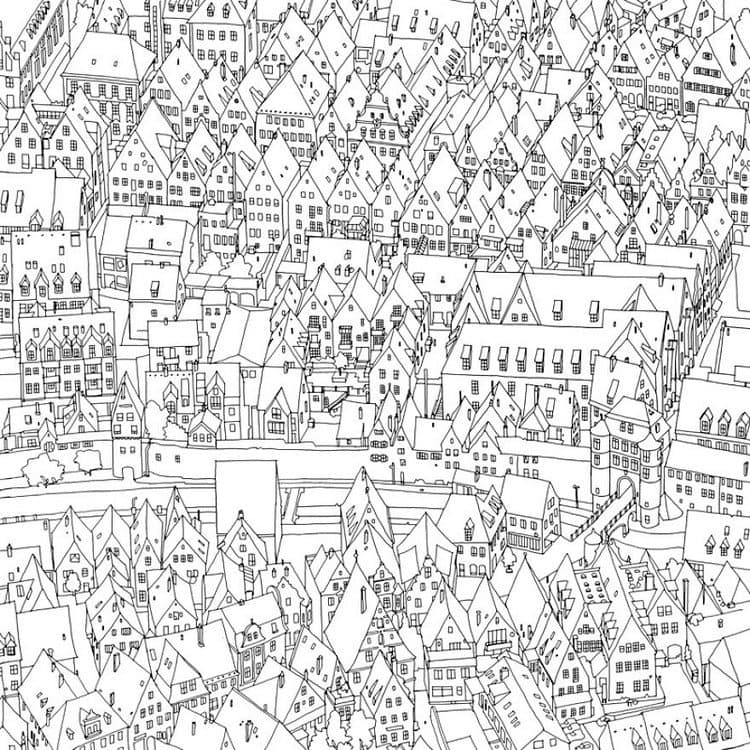 This Coloring Book Takes You To Fantastic Cities Both Real And Imagined