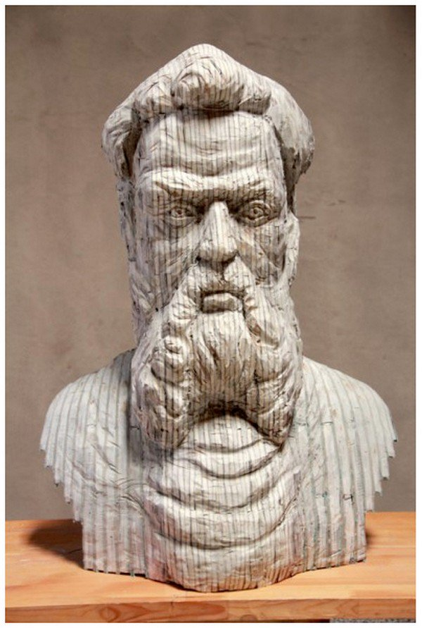 front view bearded chen sculpture