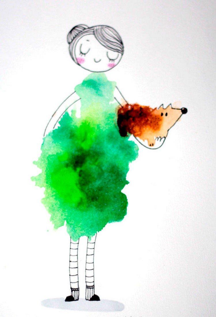 green blot girl dog