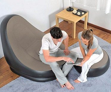 inflatable lounger and ottoman foot stool