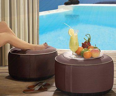 inflatable ottoman brown