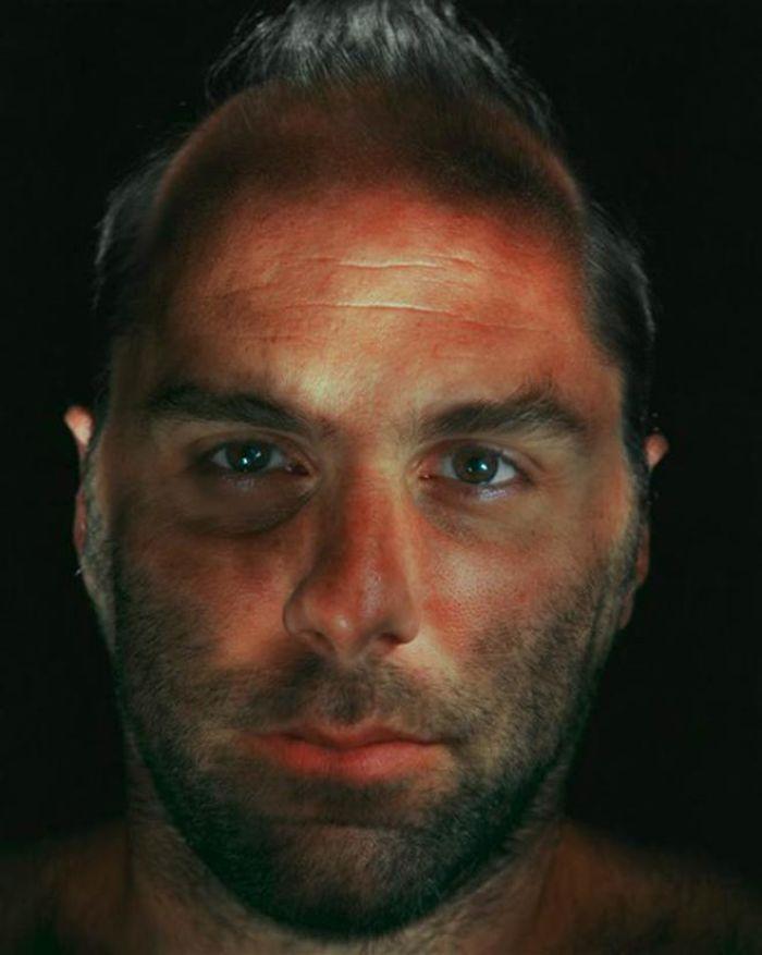 man illuminated face
