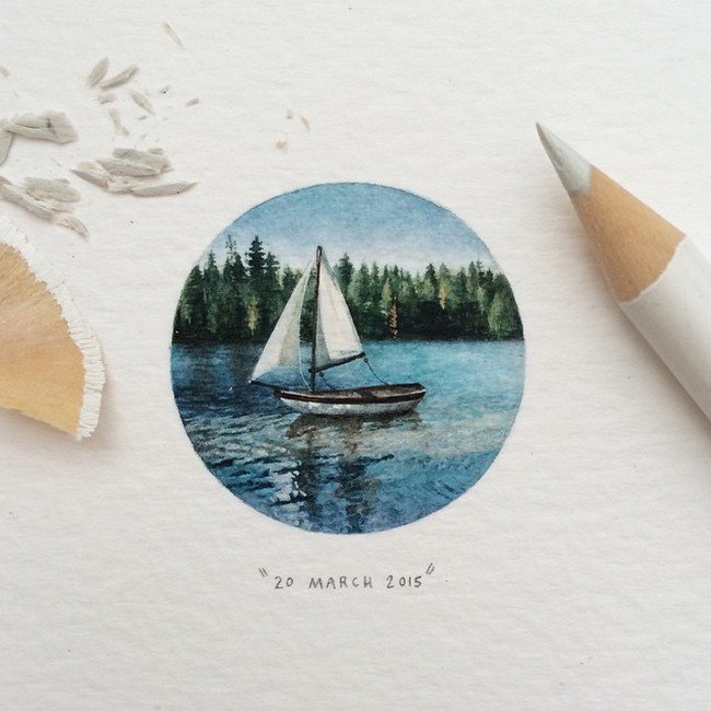 march boat tiny painting lorraine loos