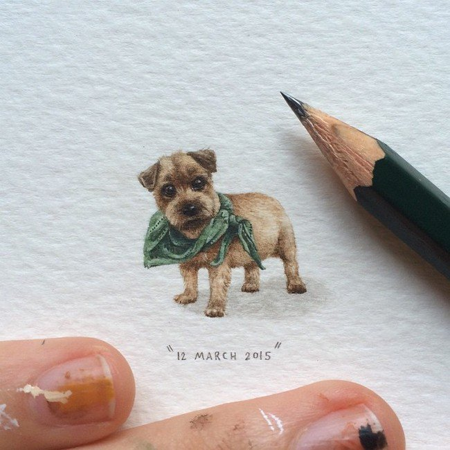 march dog tiny painting lorraine loos