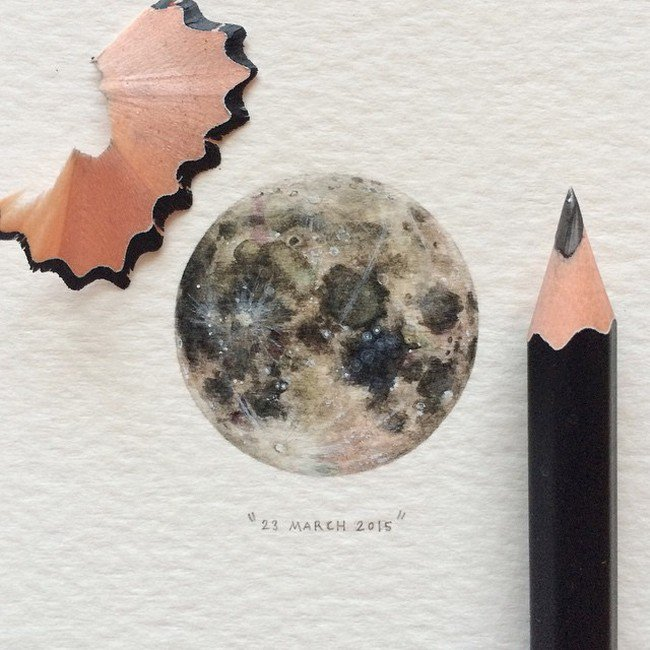 march moon tiny painting lorraine loos