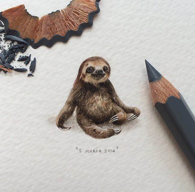 march sloth tiny painting lorraine loos
