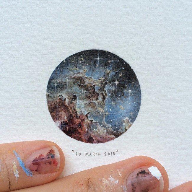 march stars rocks tiny painting lorraine loos