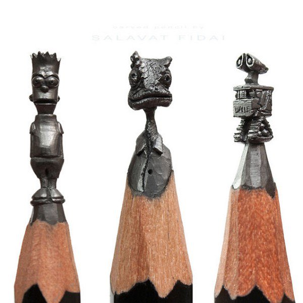 mini pencil sculptures characters