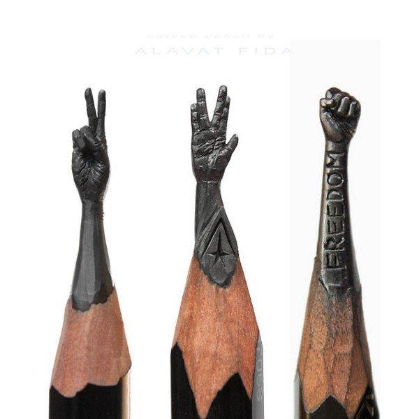 mini pencil sculptures hands