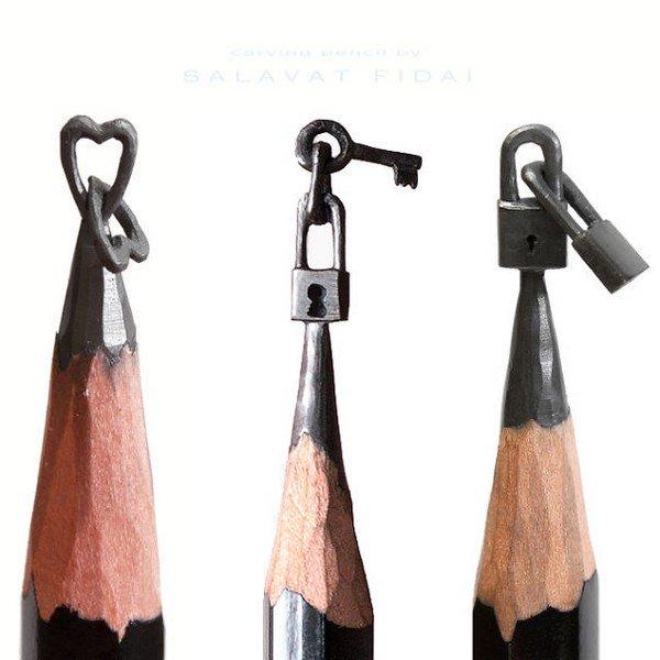 mini pencil sculptures locks