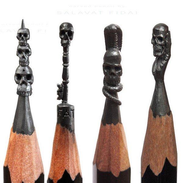 mini pencil sculptures skulls
