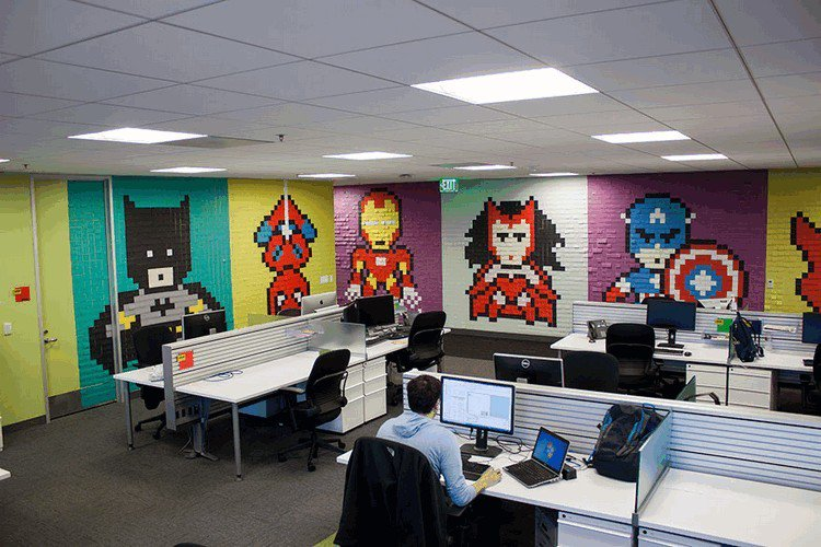 office post it murals