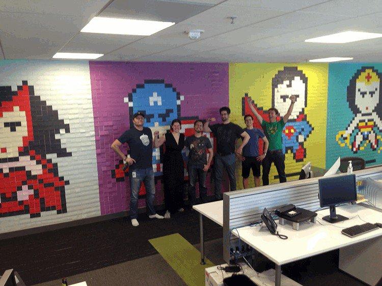 office staff mural