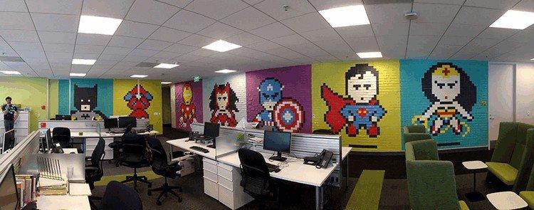 open plan office mural