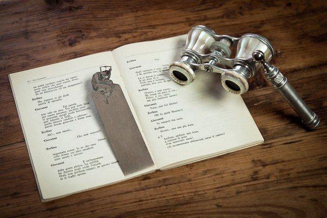 opera glasses silver bookmark