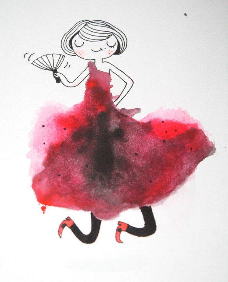 red black blot girl
