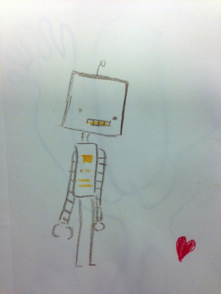 robot looking down heart drawing