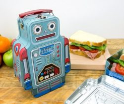 robot tin lunch box