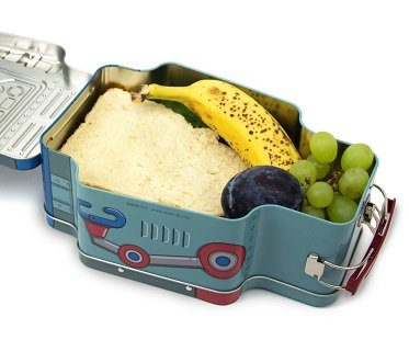 robot tin lunch box food