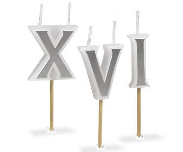roman numeral birthday candles cake