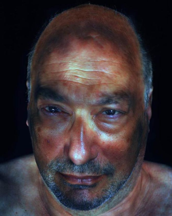short beard man illuminated