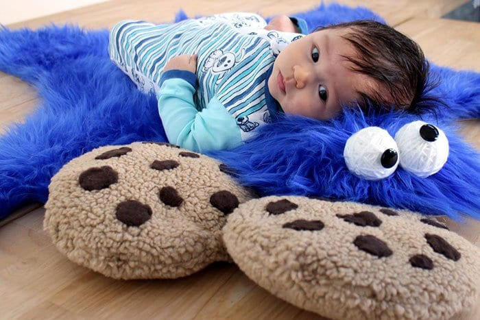 side view baby cookie monster rug