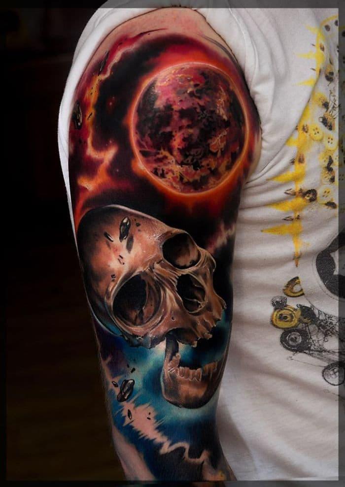 skull planet tattoo