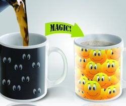 smiley faces heat changing mug