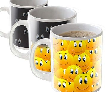 smiley faces heat changing mug coffee