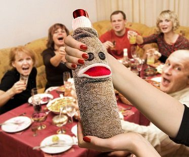 sock monkey wine bottle caddy