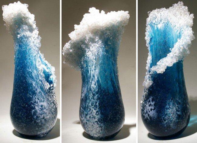 trio ocean wave vase