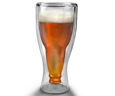 upside down beer glass bottle
