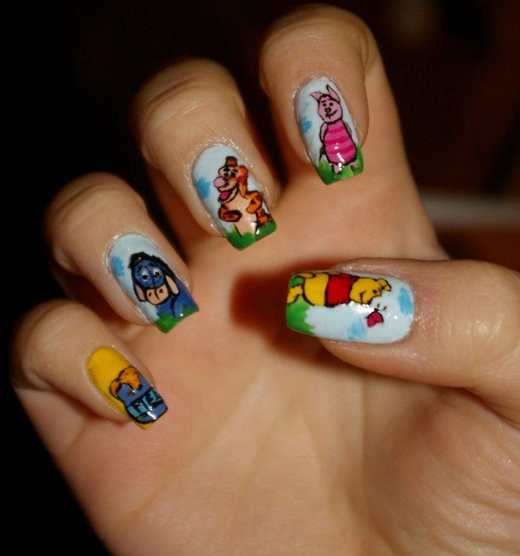 Winnie The Pooh Nails: Self Taught Nail Artist Paints Famous Cartoons, Movies And